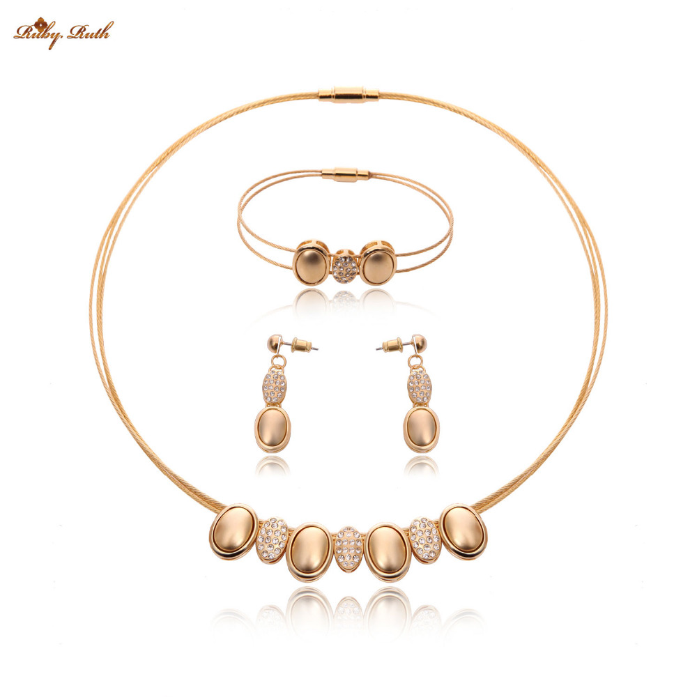 Jewelry Sets Women Gold Color Vintage Nigerian African Beads Bridal Wedding Dubai Statement Fashion Necklace Earring