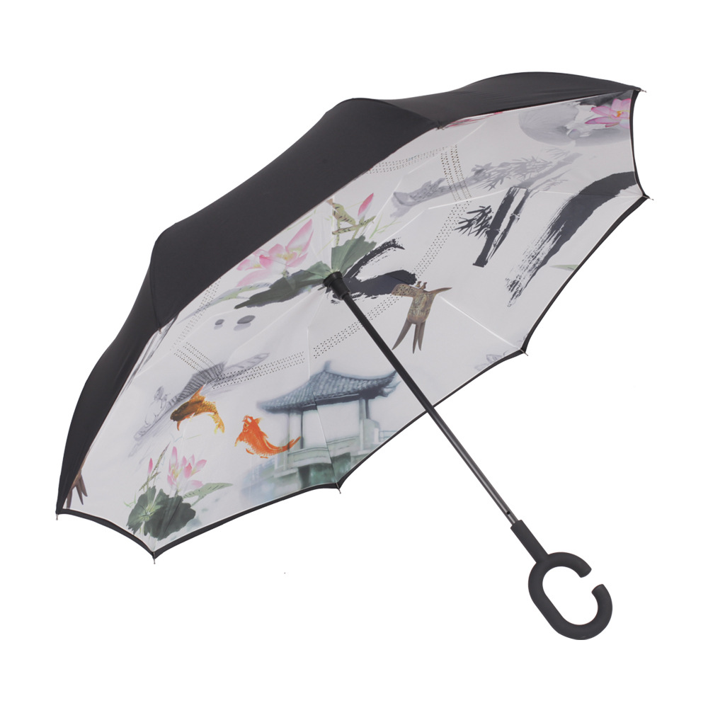 Creative Reverse Umbrella Windproof Reverse Folding Double Layer Umbrella Self Stand Inside Out Rain C-Hook Hands For Car